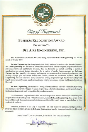City of Hayward Business Recognition Award